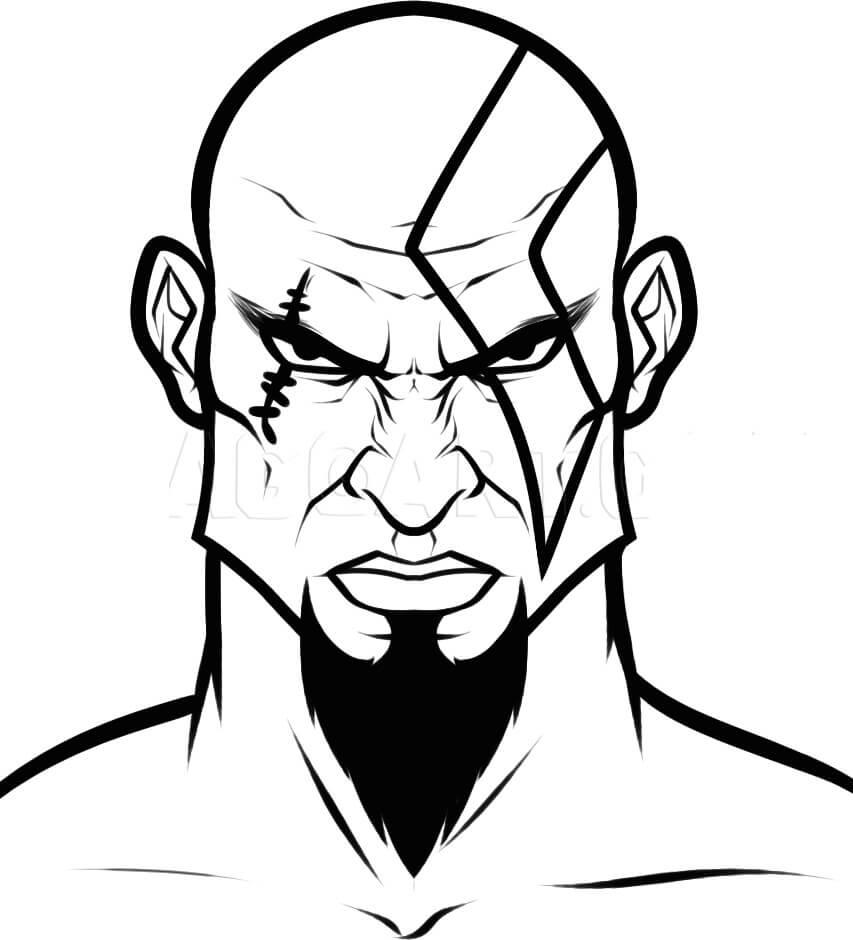 Desenhos de Kratos o Deus 1 para colorir