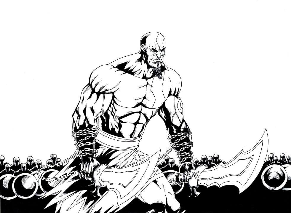 Desenhos de Kratos o Deus 2 para colorir