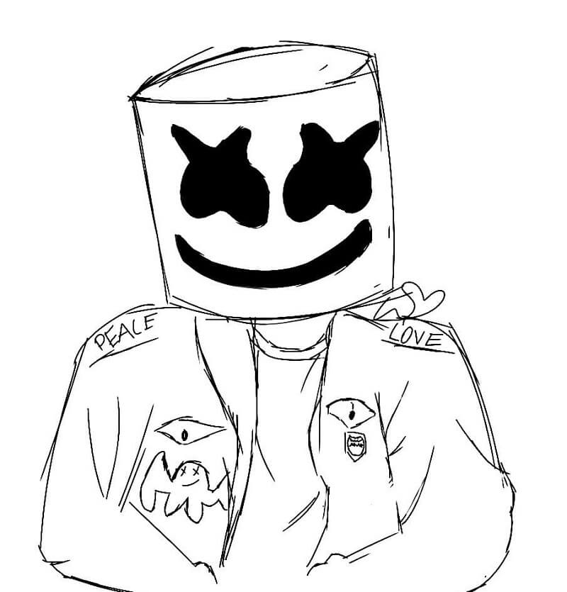 Desenhos de Marshmello Fortnite 5 para colorir