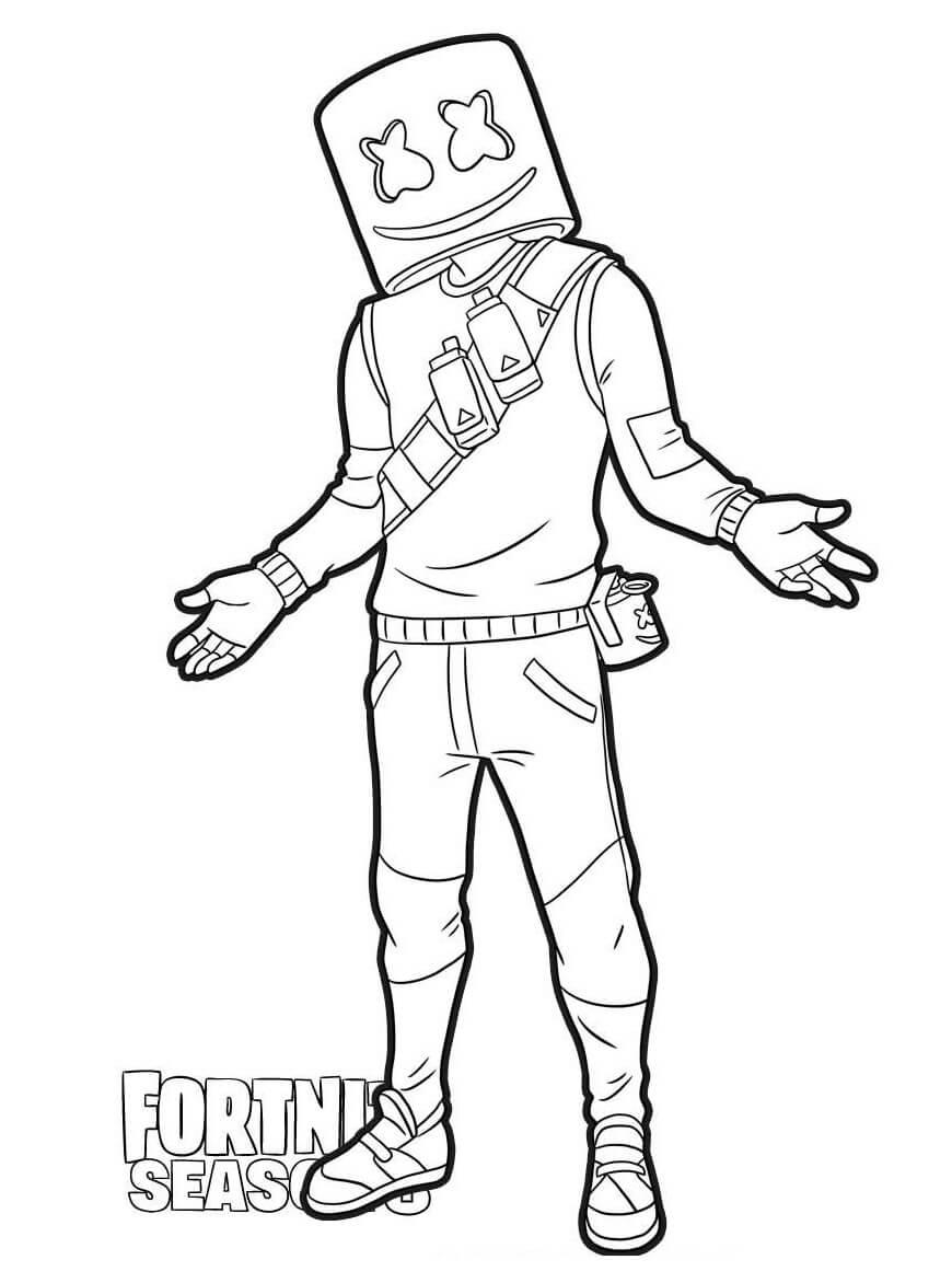 Desenhos de Marshmello Fortnite para colorir