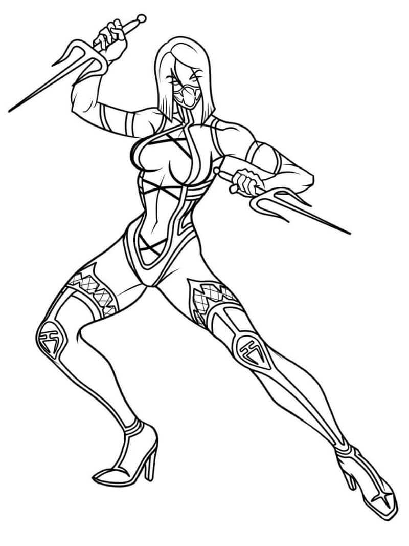 Desenhos de Mileena Mortal Kombat para colorir
