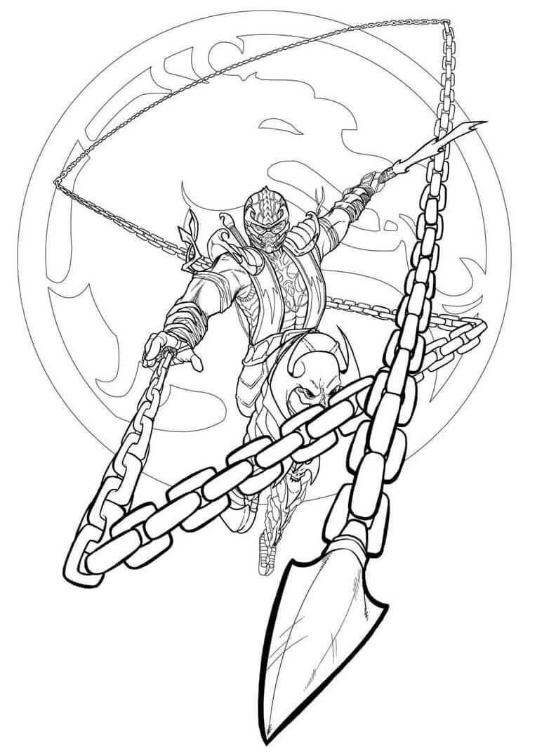 Desenhos de Mortal Kombat Scorpion para colorir