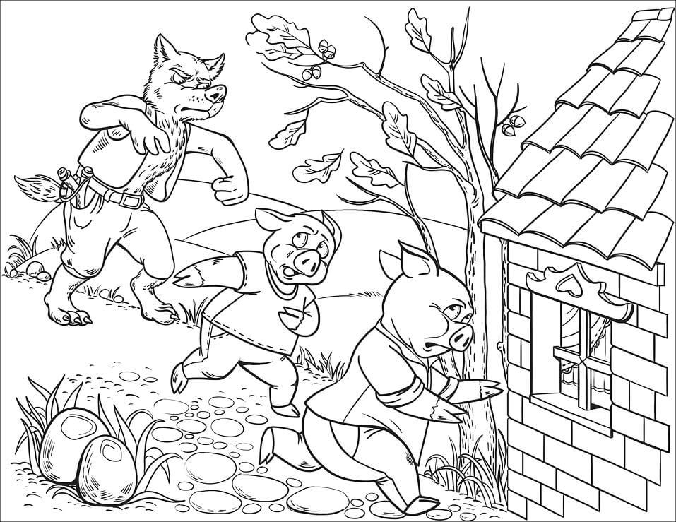 Desenhos de Três Porquinhos para Colorir