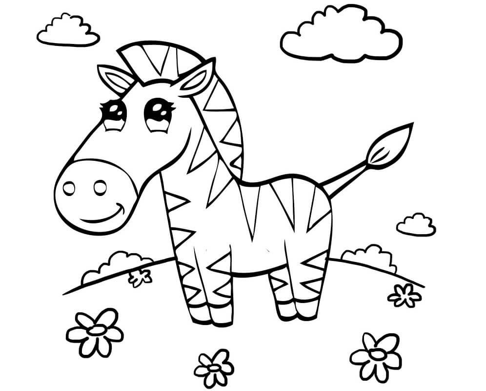 Desenhos de Zebra Fofa 2 para colorir