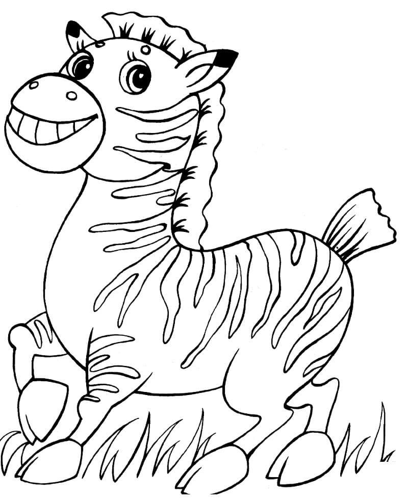 Desenhos de Zebra Fofa 3 para colorir