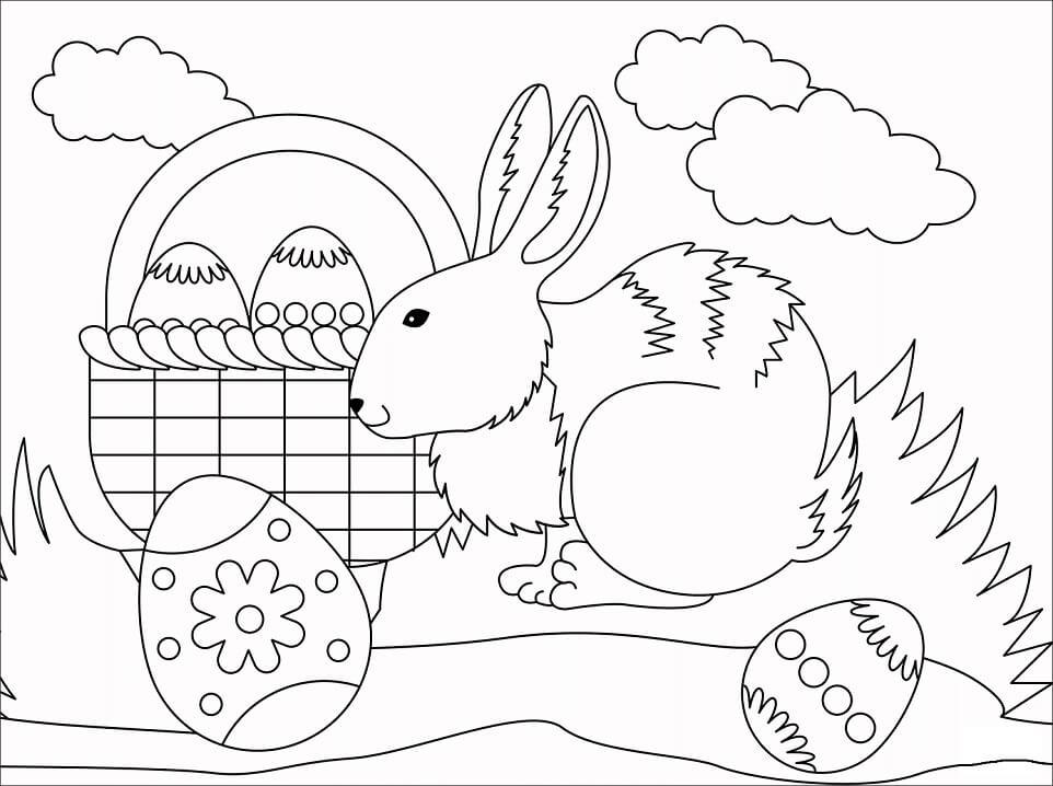 Desenhos de Adorável Coelho da Páscoa 3 para colorir