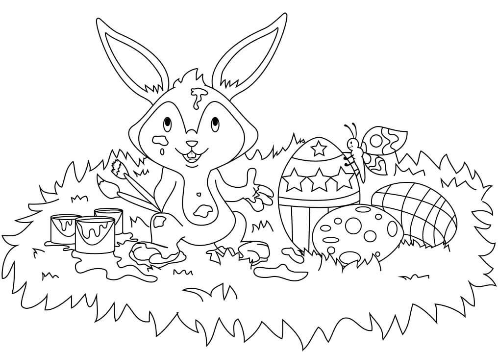 Desenhos de Adorável Coelho da Páscoa 4 para colorir