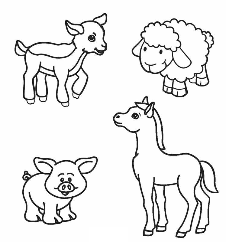 Desenhos de Animais da Fazendinha 1 para colorir
