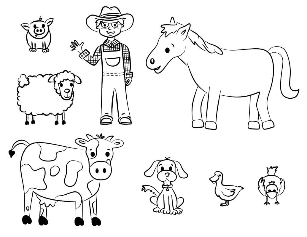Desenhos de Animais da Fazendinha 2 para colorir