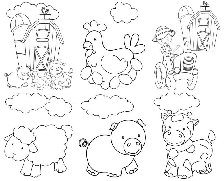 Desenhos de Animais da Fazendinha para colorir
