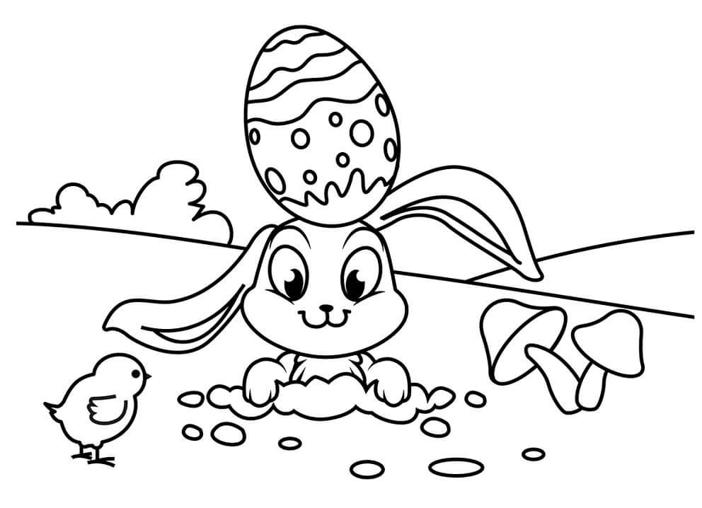 Desenhos de Coelho da Páscoa Engraçado 1 para colorir