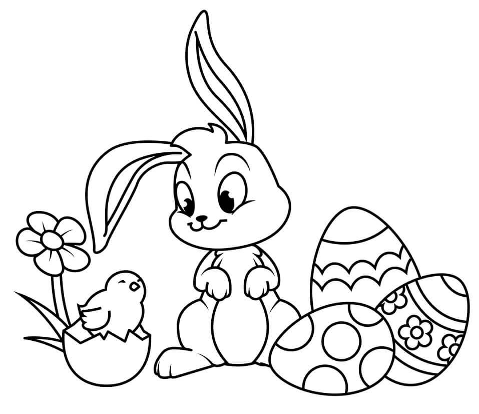 Desenhos de Coelho da Páscoa Engraçado 2 para colorir
