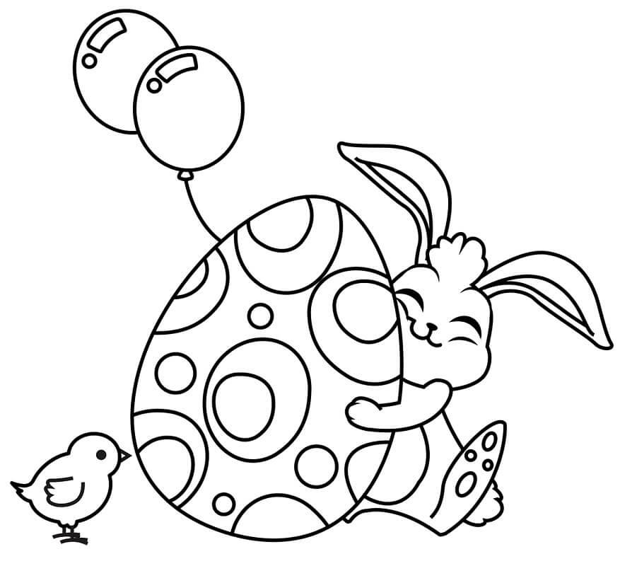 Desenhos de Coelho da Páscoa Engraçado 3 para colorir
