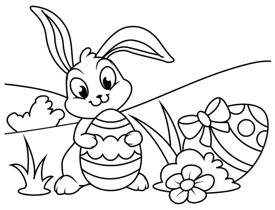 Desenhos de Coelho da Páscoa Engraçado 5 para colorir