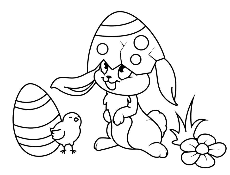 Desenhos de Coelho da Páscoa Engraçado para colorir