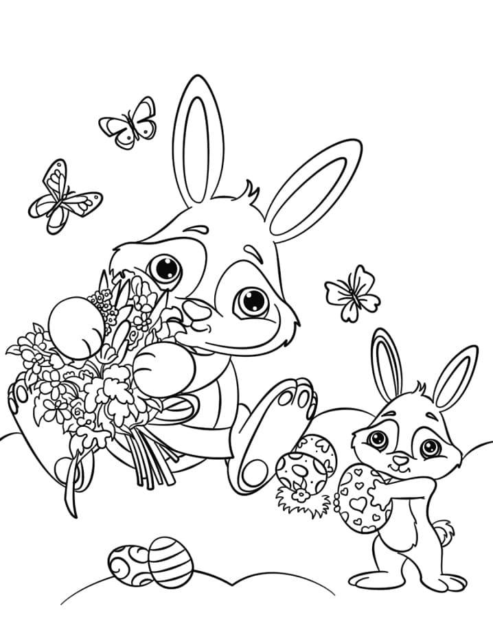 Desenhos de Coelhos da Páscoa 2 para colorir