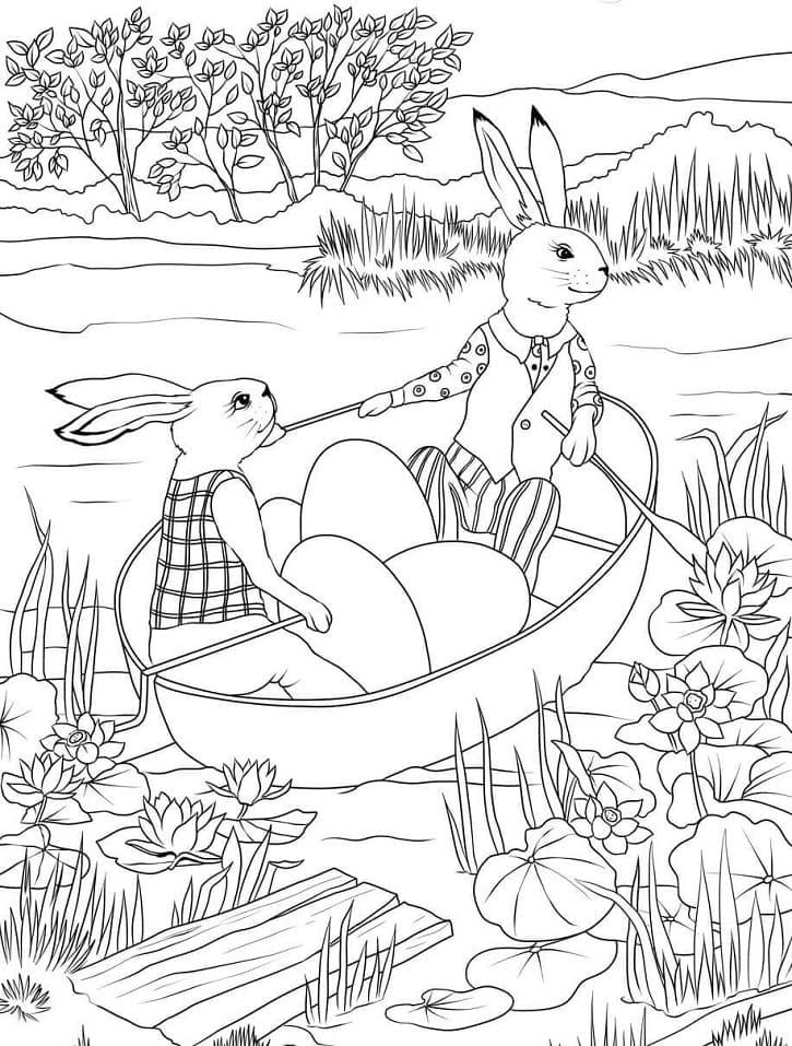 Desenhos de Coelhos da Páscoa 4 para colorir