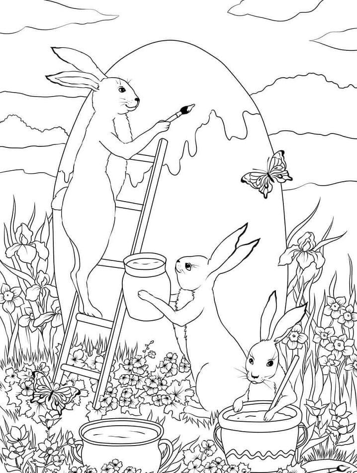 Desenhos de Coelhos da Páscoa 5 para colorir