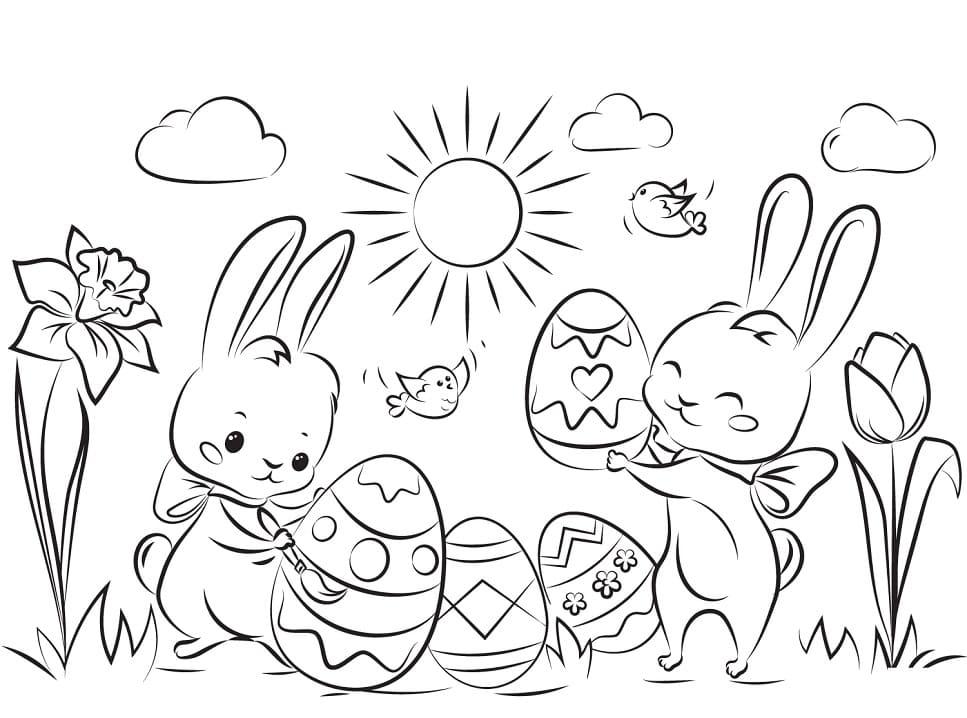 Desenhos de Coelhos da Páscoa 7 para colorir