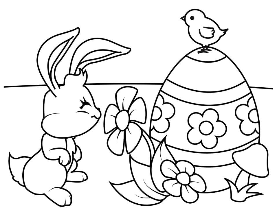 Desenhos de Feliz Coelho da Páscoa 2 para colorir