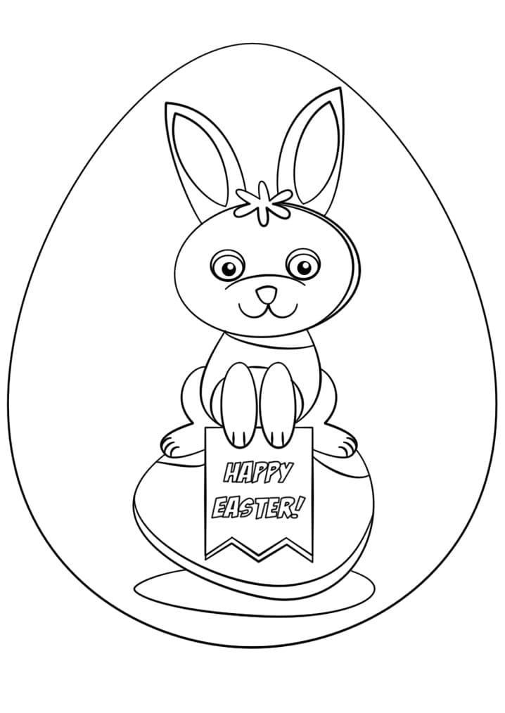 Desenhos de Feliz Coelho da Páscoa 3 para colorir