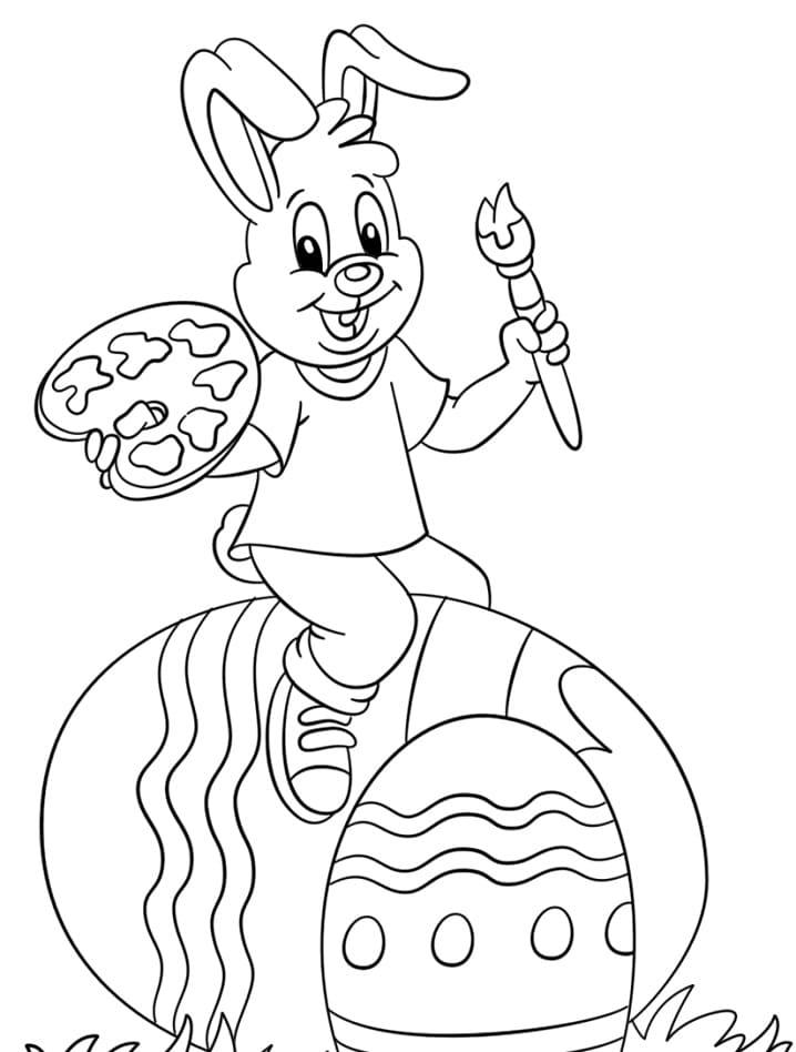Desenhos de Feliz Coelho da Páscoa 4 para colorir