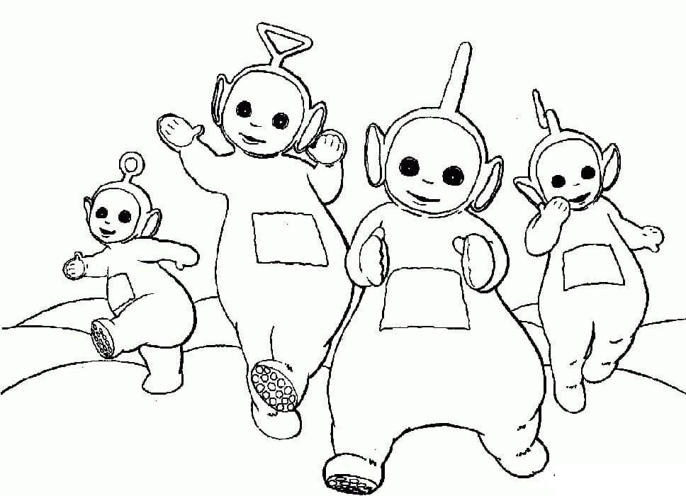 Desenhos de Felizes Teletubbies 4 para colorir