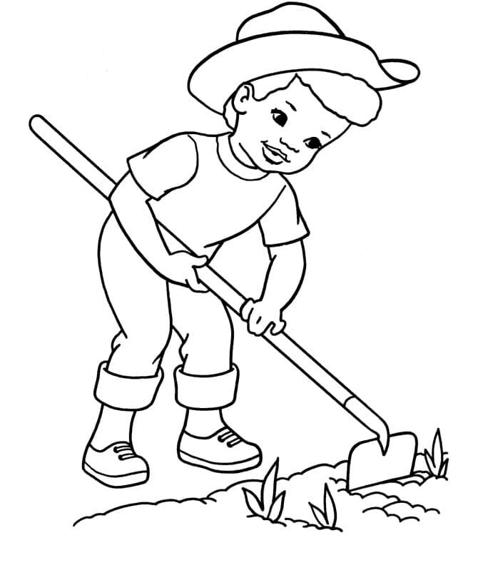 Desenhos de Garotinho na Fazendinha para colorir