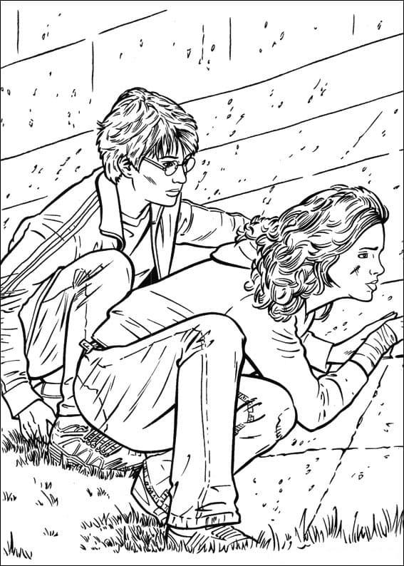 Desenhos de Harry Potter e Hermione 1 para colorir