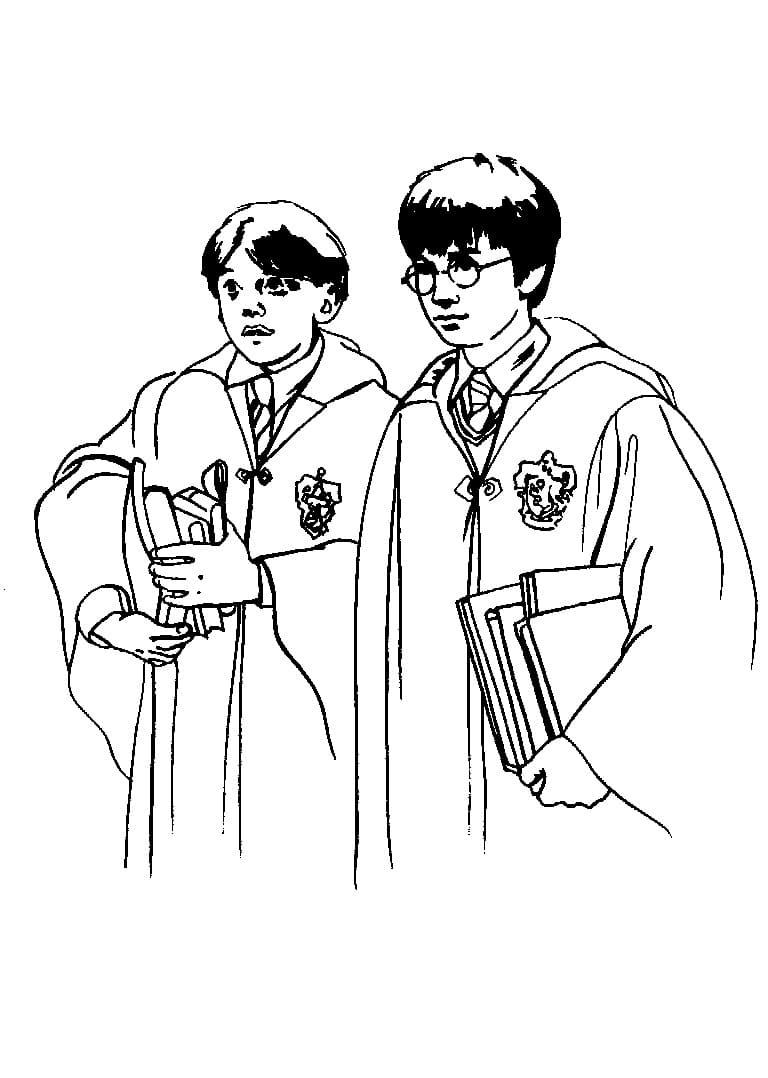 Desenhos de Harry e Ron para colorir