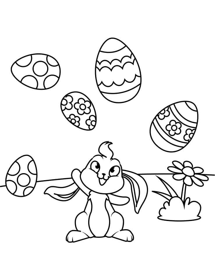 Desenhos de Lindo Coelho da Páscoa para colorir
