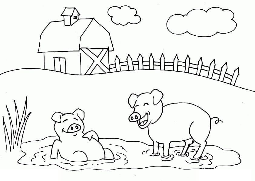 Desenhos de Pequenos Porcos para colorir