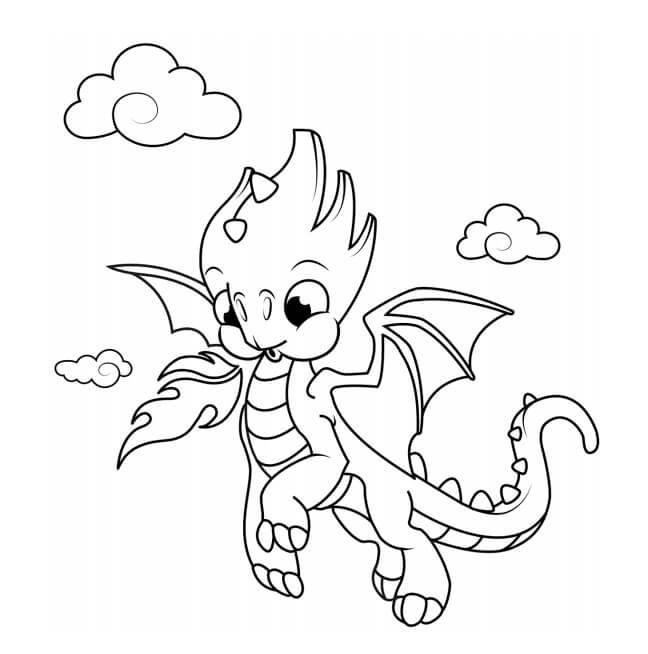 Desenhos de Bebê Dragão Voando para colorir
