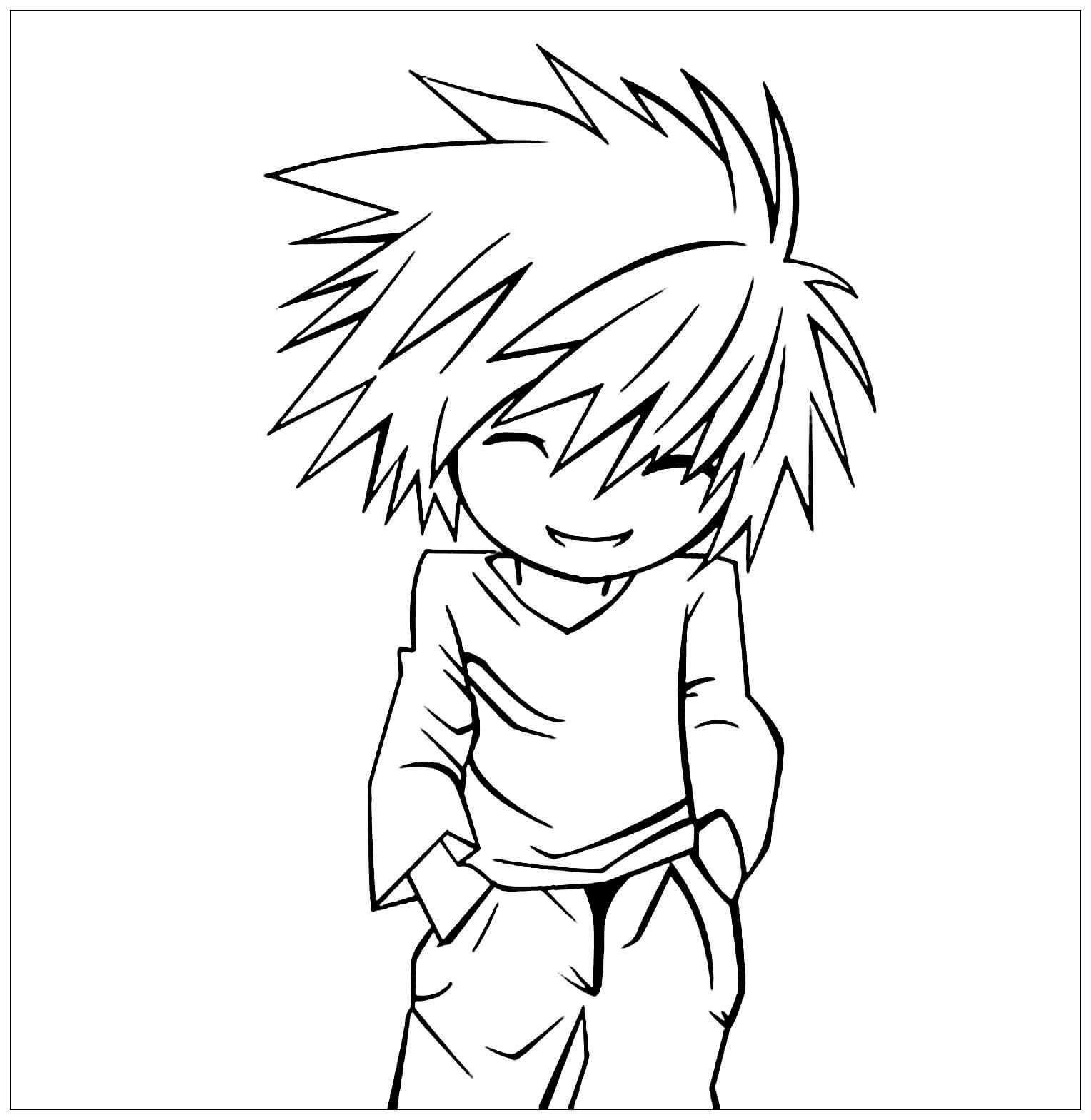 Desenhos de Chibi L para colorir