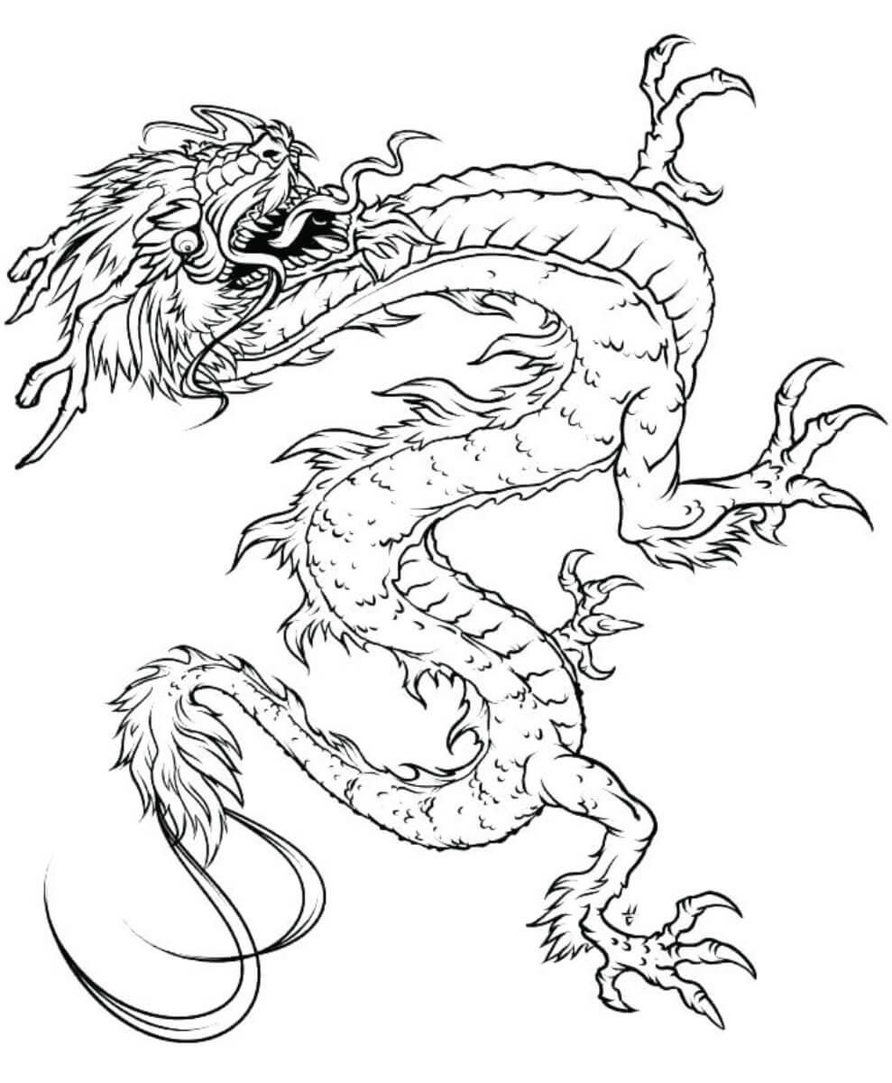 Desenhos de Dragão Chinês Voando para colorir