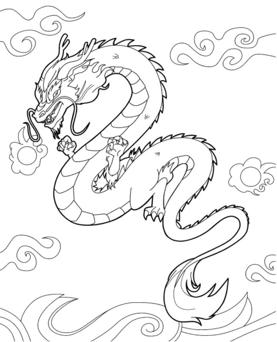 Desenhos de Lindo Dragão Chinês para colorir