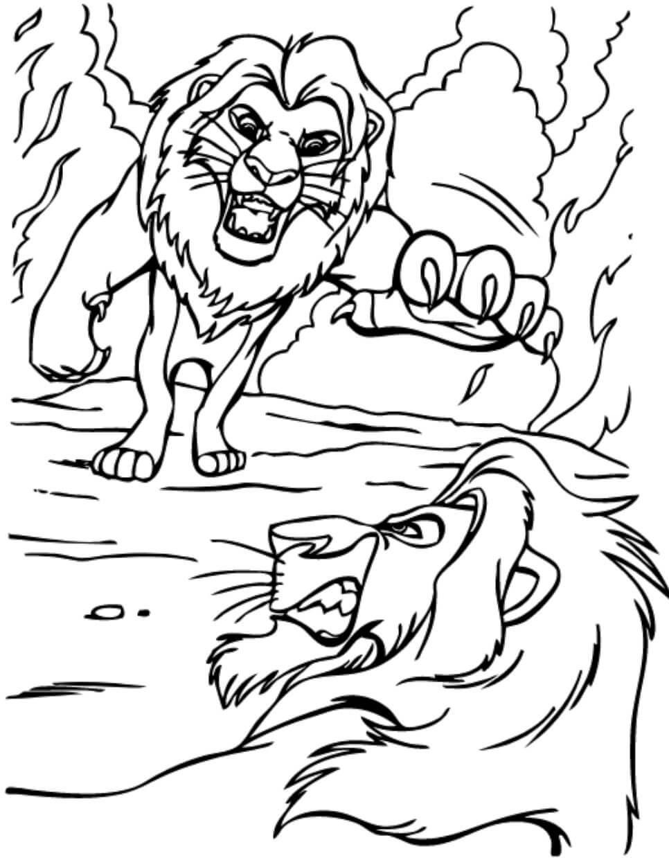 Desenhos de Mufasa Vs Scar para colorir