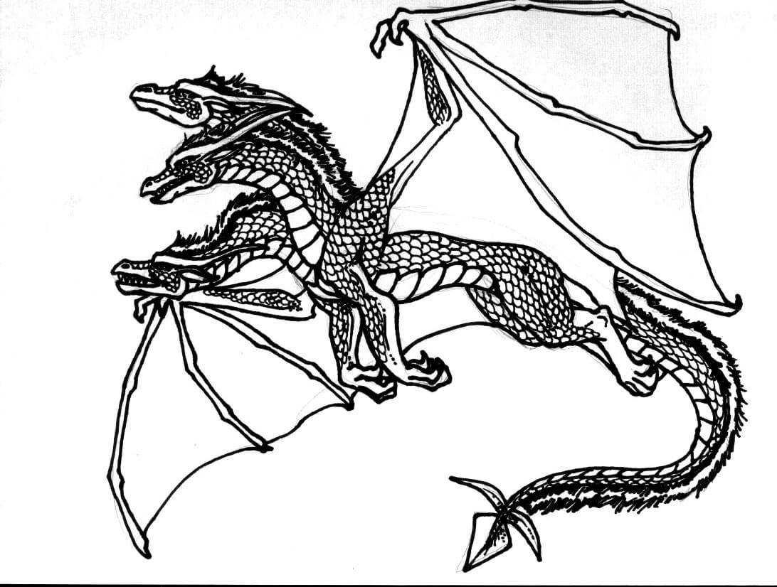 Desenhos de Dragão De Cabeça Tripla para colorir