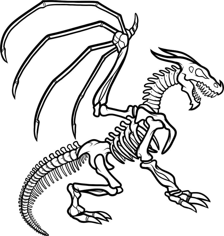Desenhos de Esqueleto De Dragão Assustador para colorir