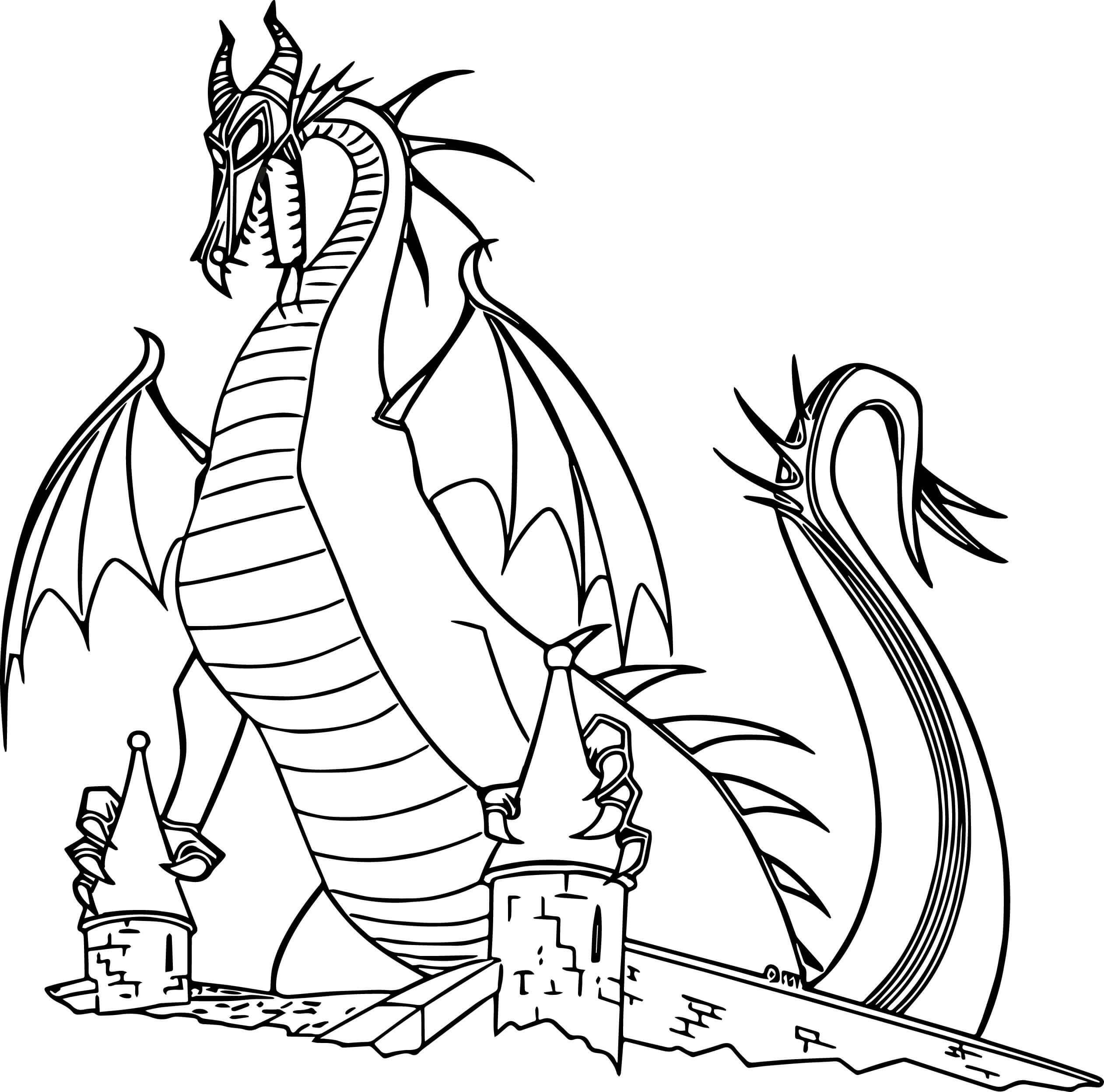 Desenhos de Dragão Da Bela Adormecida para colorir