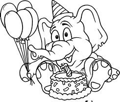 Desenhos de Aniversário Do Elefante para colorir