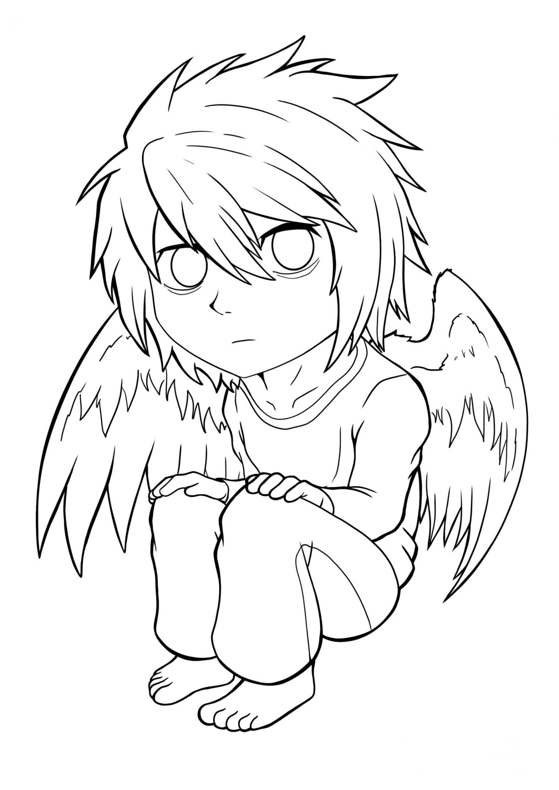 Desenhos de Anjo L para colorir