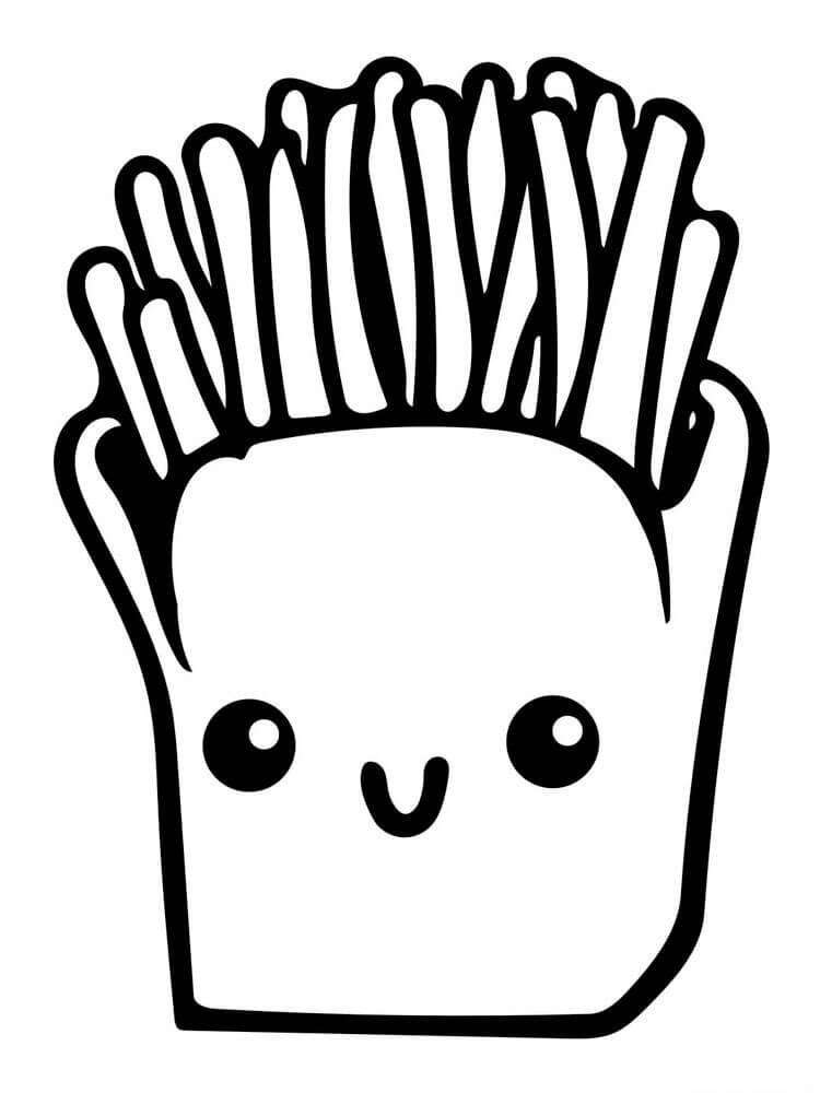 Desenhos de Batatas Fritas Fofas para colorir