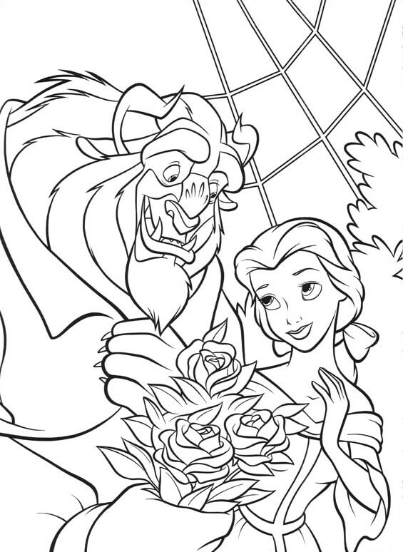 Desenhos de Bela Besta Dando Flores para colorir