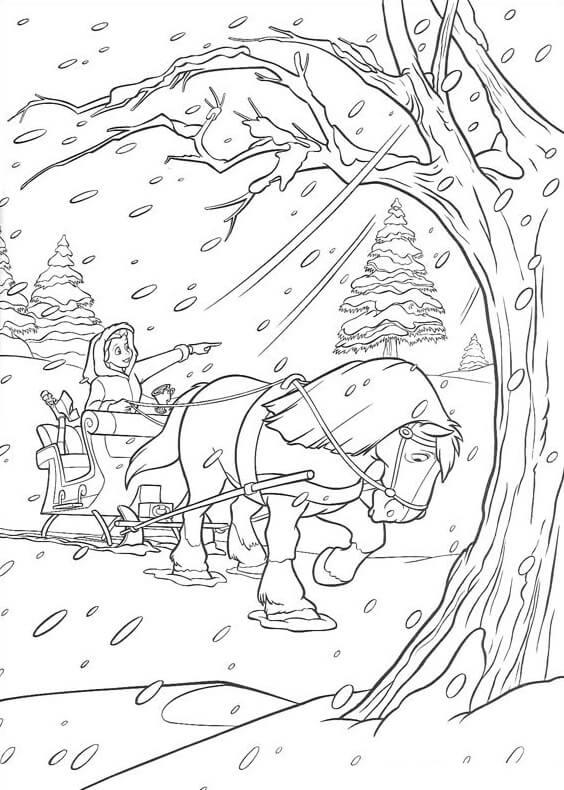 Desenhos de Bela No Inverno para colorir