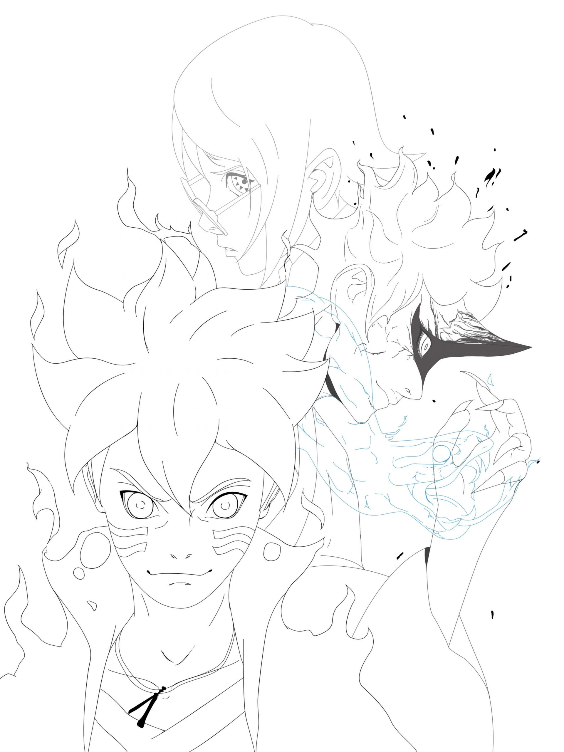 Desenhos de Boruto E Sadara para colorir