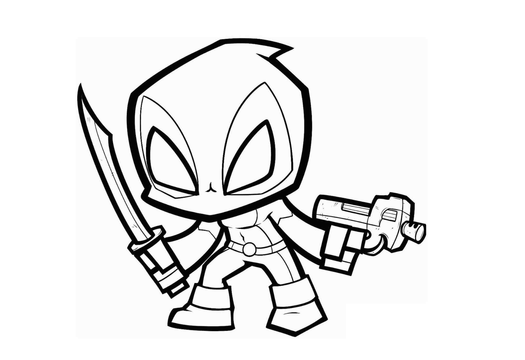 Desenhos de Chibi Piscina Morta Com Armas e Espada para colorir