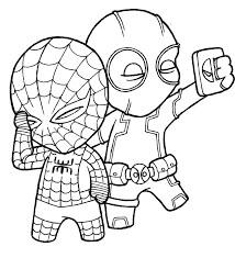 Desenhos de Chibi Piscina Morta E Homem Aranha Chibi para colorir