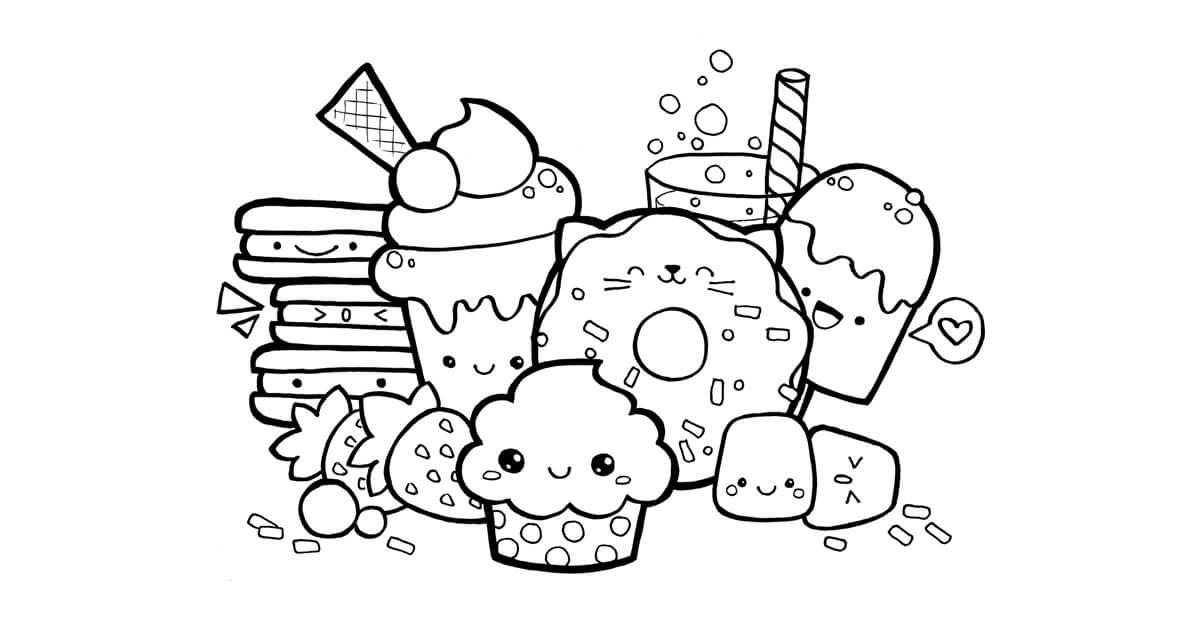 Desenhos de Comida Fofa Equipe para colorir