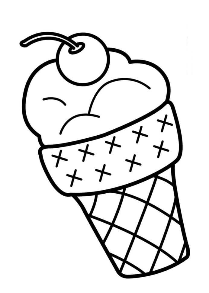 Desenhos de Cone De Sorvete Fofinho para colorir
